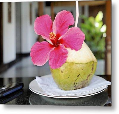 Fresh Coconut Milk Cocktail Metal Print by Kantilal Patel