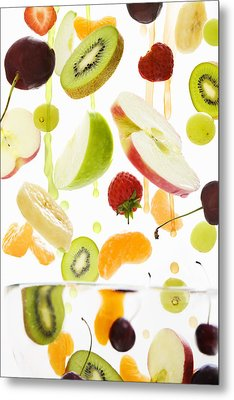 Fresh Mixed Fruit With Apple & Orange Juice Metal Print by Andrew Bret Wallis