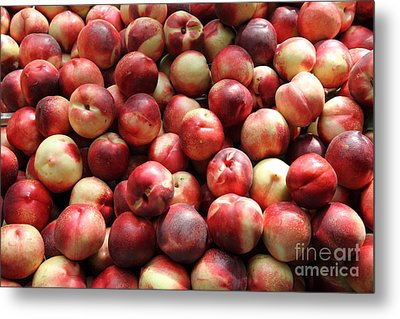 Fresh Nectarines - 5d17813 Metal Print by Wingsdomain Art and Photography