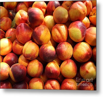 Fresh Nectarines - 5d17815 Metal Print by Wingsdomain Art and Photography