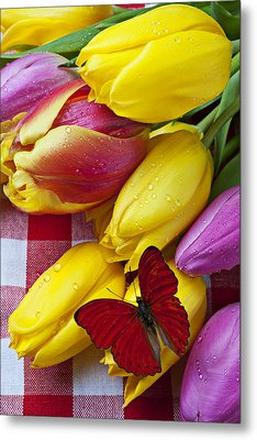 Fresh Tulips And Red Butterfly Metal Print