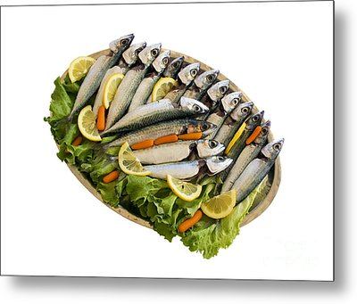 Fresh Uncoocked Fish Metal Print by Soultana Koleska