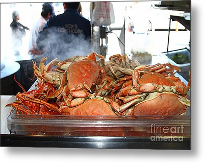 Freshly Cooked Steaming Hot Dungeness Crabs At Fishermans Wharf . San Francisco California . 7d14461 Metal Print by Wingsdomain Art and Photography