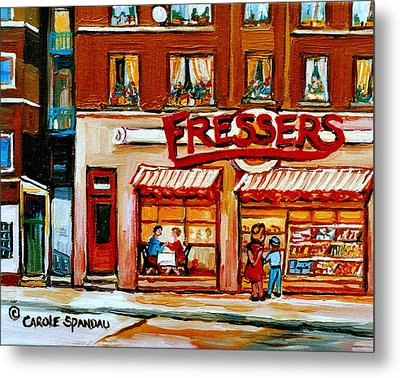Fressers Deli Decarie Boulevard Montreal City Scenes Metal Print by Carole Spandau
