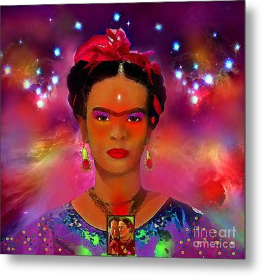 Frida In The Sky With Diamonds Metal Print by Mucha Kachidza
