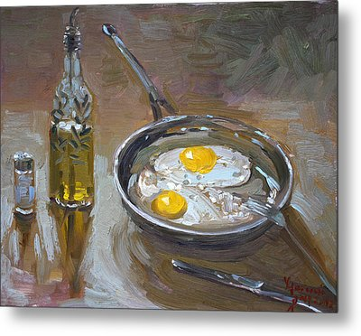 Fried Eggs Metal Print by Ylli Haruni