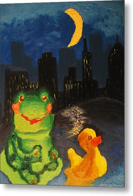 Frog And Duck Go To The Bog City By Way Of The Lake Metal Print by M Zimmerman