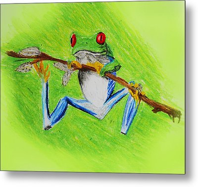 Metal Print featuring the digital art Frog by Serene Maisey