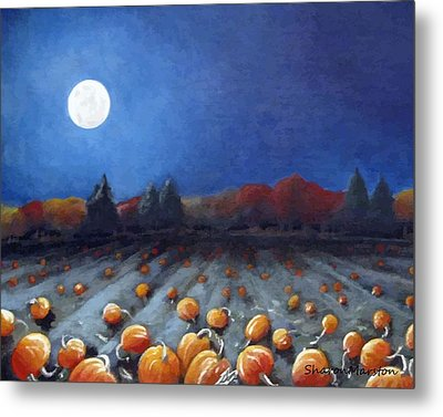 Frosty Harvest Moon Metal Print by Sharon Marcella Marston