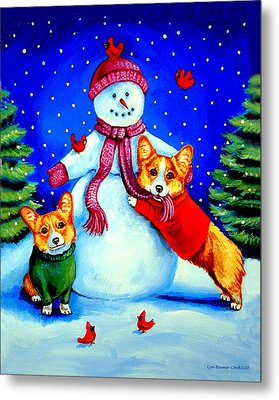 Frosty's Helpers Pembroke Welsh Corgis Metal Print by Lyn Cook