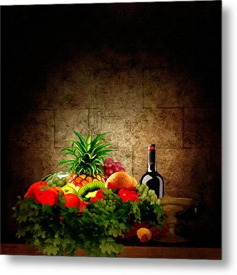 Fruit And Wine Metal Print by Lourry Legarde