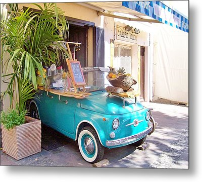 Fruit Stand In Collioure France Metal Print by Marilyn Dunlap