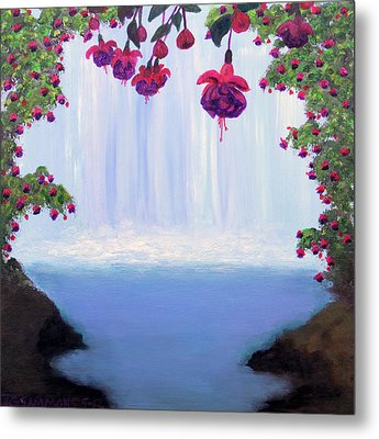 Metal Print featuring the painting Fuchsia Falls by Janet Greer Sammons