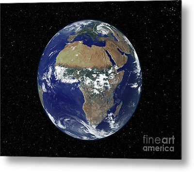 Full Earth Showing Africa And Europe Metal Print by Stocktrek Images