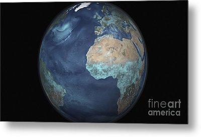 Full Earth Showing Evaporation Metal Print by Stocktrek Images
