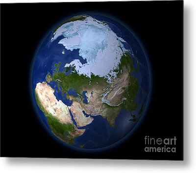 Full Earth Showing The Arctic Region Metal Print by Stocktrek Images
