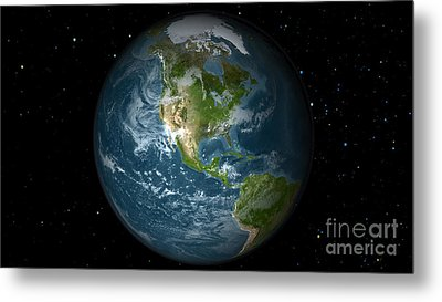 Full Earth View Showing North America Metal Print