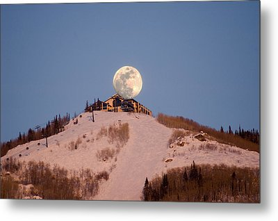 Full Moon Alpenglow Metal Print