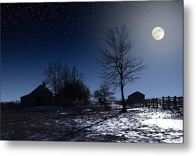 Full Moon And Farm Metal Print