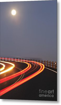Full Moon Over A Curving Road Metal Print by Jetta Productions, Inc