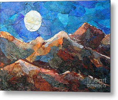 Metal Print featuring the painting Full Moon Over The Sierras by Li Newton