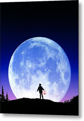 Full Moon Rising Metal Print by David Nunuk