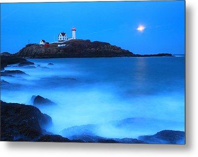 Full Moon Surf Cape Neddick Nubble Lighthouse Metal Print by John Burk