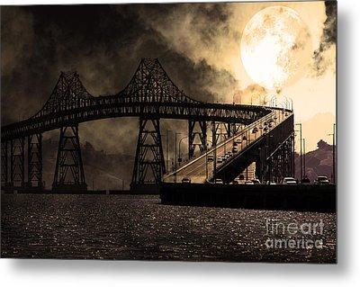Full Moon Surreal Night At The Bay Area Richmond-san Rafael Bridge - 5d18440 - Sepia Metal Print by Wingsdomain Art and Photography