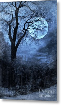Full Moon Through Bare Trees Branches Metal Print by Jill Battaglia