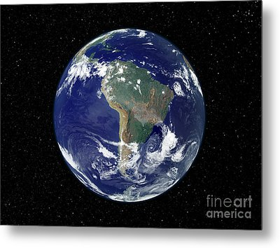Fully Lit Earth Centered On South Metal Print by Stocktrek Images