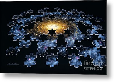 Galaxy Puzzle Metal Print by Lynette Cook