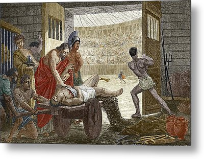 Galen Treating A Gladiator In Pergamum Metal Print by Sheila Terry