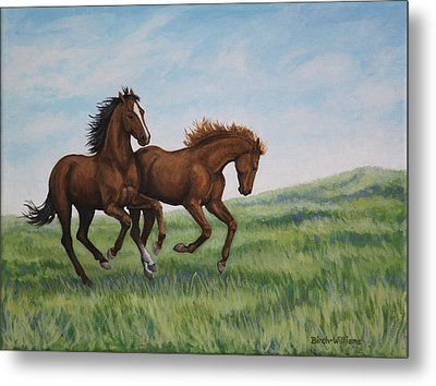 Galloping Horses Metal Print by Penny Birch-Williams