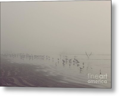 Galveston Island Foggy Morning Metal Print