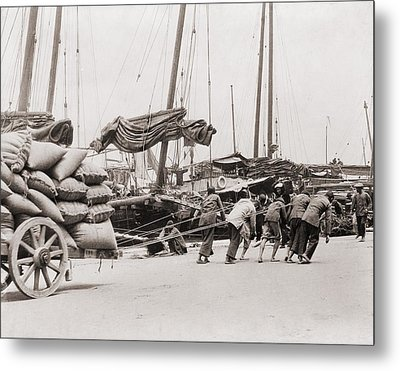 Gang Of Five Chinese Dock Workers Lean Metal Print by Everett