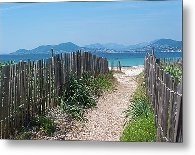 Ganivelles (fences) And Pathway To The Beach Metal Print by Alexandre Fundone