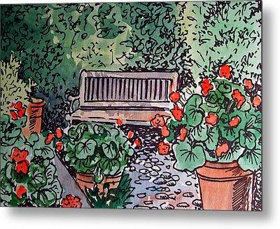 Garden Bench Sketchbook Project Down My Street Metal Print by Irina Sztukowski