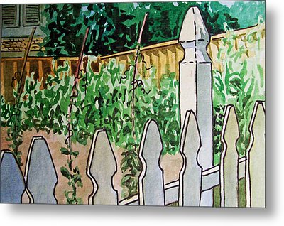 Garden Fence Sketchbook Project Down My Street Metal Print by Irina Sztukowski