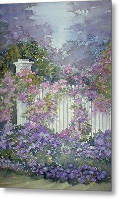 Garden Gate Roses Metal Print