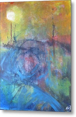 Metal Print featuring the painting Garden Illusion by John Fish
