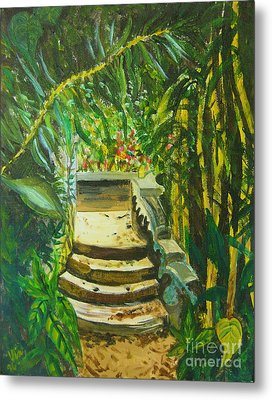 Metal Print featuring the painting Garden Passage by Judy Via-Wolff