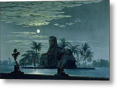 Garden Scene With The Sphinx In Moonlight Metal Print by KF Schinkel