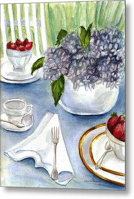Metal Print featuring the painting Garden Tea Party by Clara Sue Beym