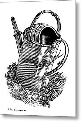 Gardening, Conceptual Artwork Metal Print by Bill Sanderson