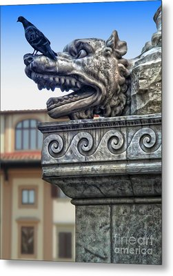 Gargoyle And Pidgeon Metal Print by Gregory Dyer