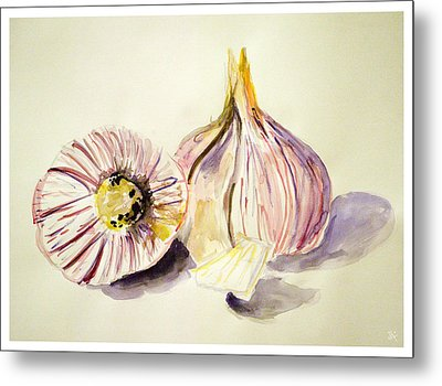 Metal Print featuring the painting Garlic by Jim  Arnold