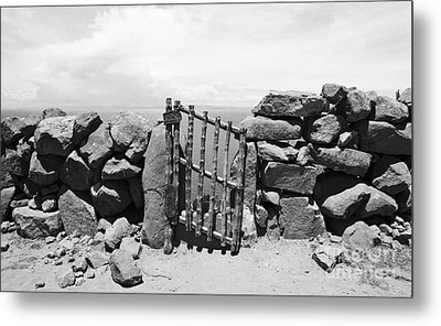 Gate Overlooking Lake Titicaca Metal Print by Darcy Michaelchuk
