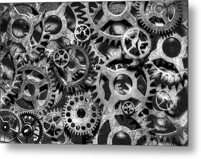 Gears Of Time Black And White Metal Print by David Paul Murray
