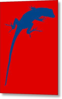 Gecko Silhouette Red Blue Metal Print by Ramona Johnston