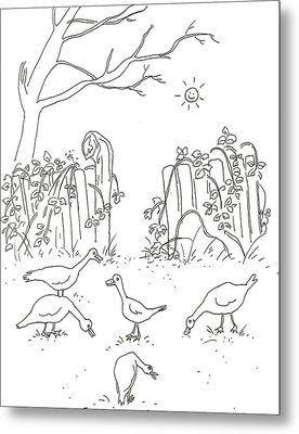 Geese In The Garden Metal Print by Vass Eva Rozsa